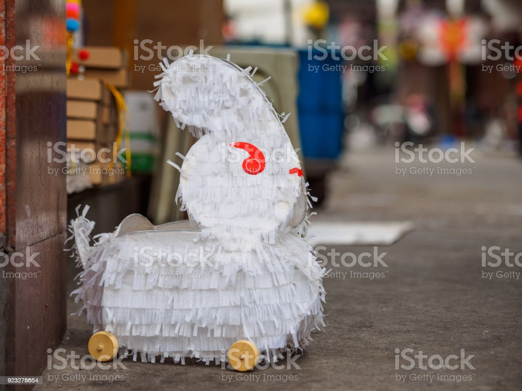 Cute White Rabbit Lantern Made By Paper On Ground It Is A