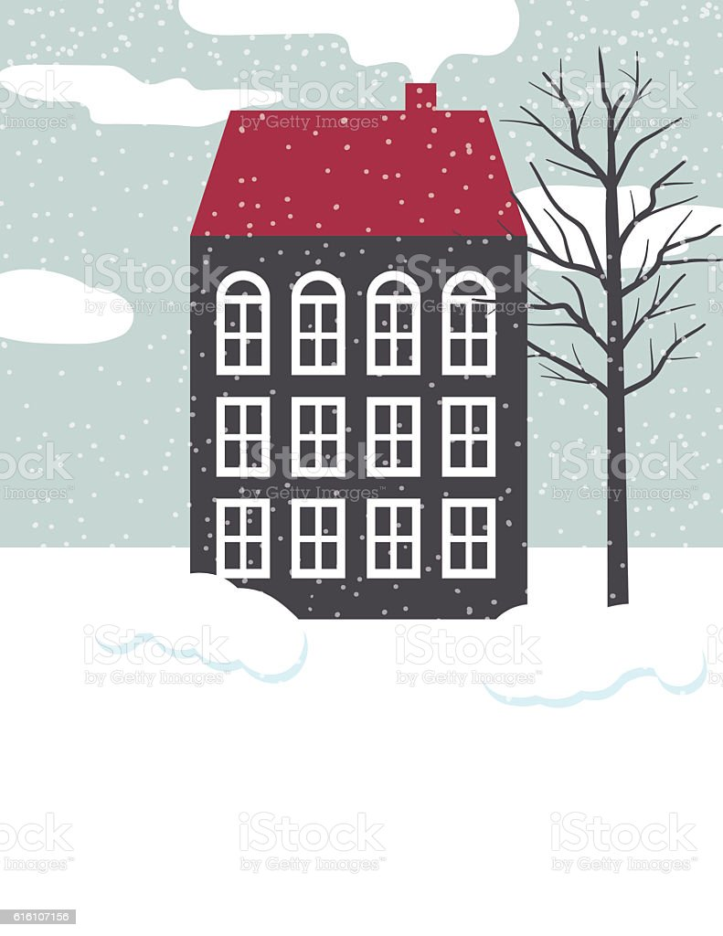 Cute Winter Houses In The Snow stock photo