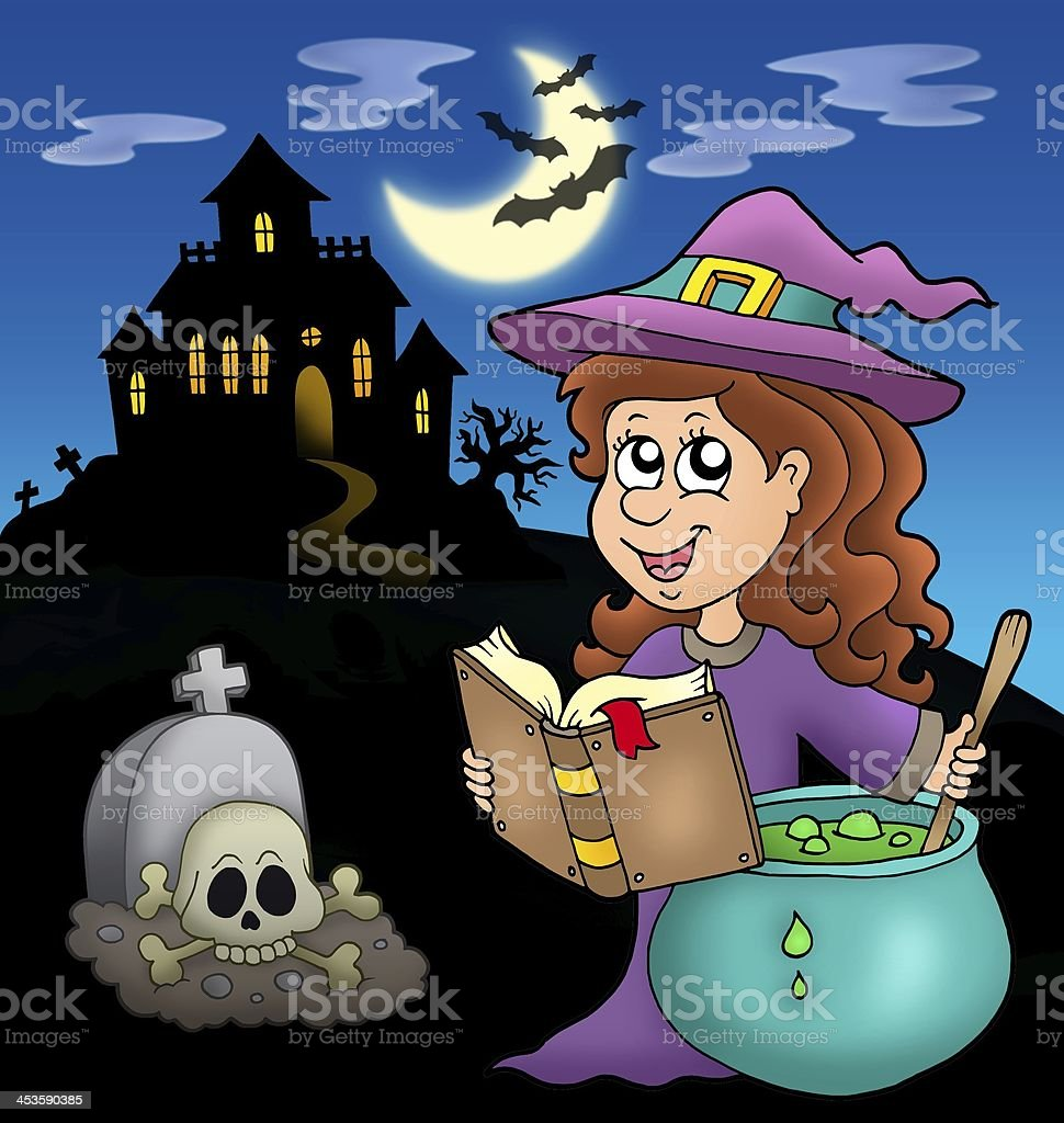 Cute witch with potion and mansion stock photo