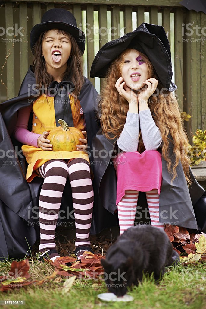 Cute witches royalty-free stock photo