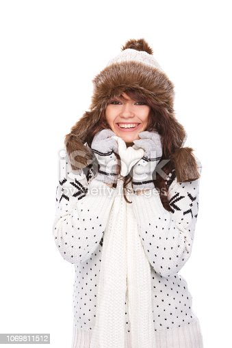 istock Cute woman in winter outfit 1069811512
