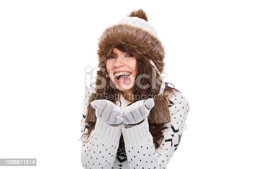 istock Cute woman in winter outfit 1069811514