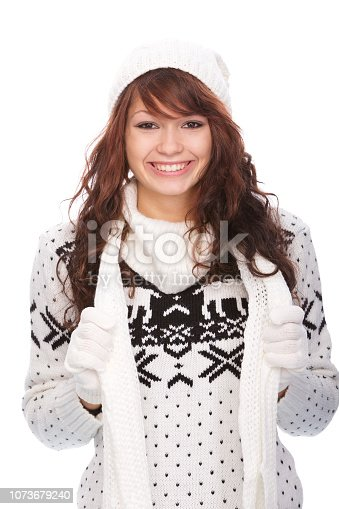 istock Cute woman in winter outfit 1073679240