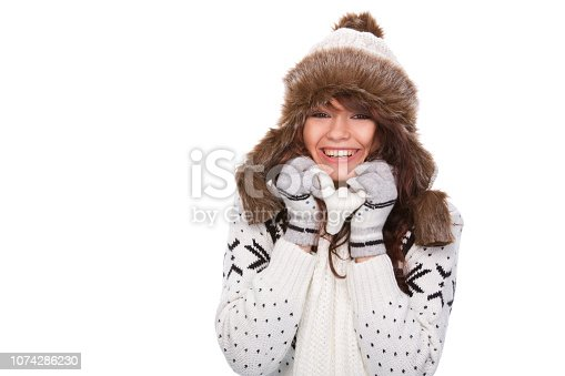 istock Cute woman in winter outfit 1074286230