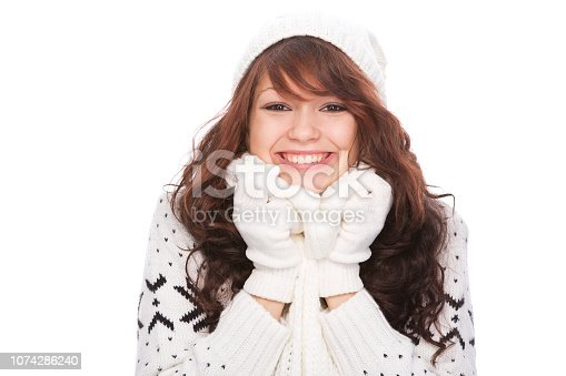 istock Cute woman in winter outfit 1074286240