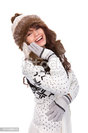 istock Cute woman in winter outfit 1074286242