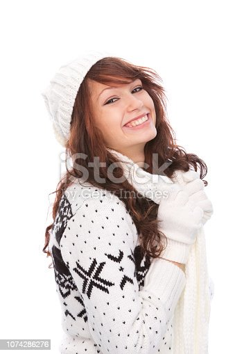 istock Cute woman in winter outfit 1074286276