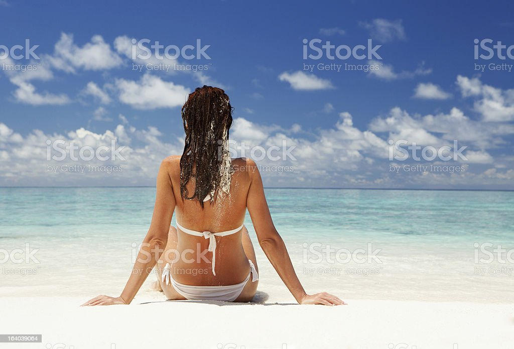 Cute woman relax on the summer beach royalty-free stock photo