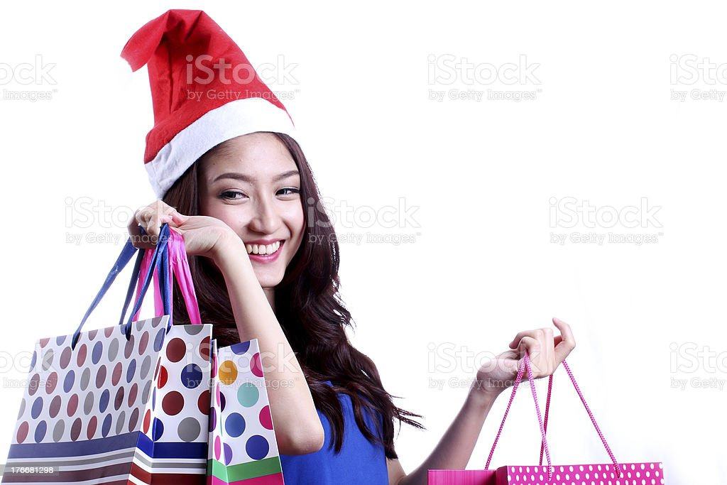 Cute woman shopping royalty-free stock photo