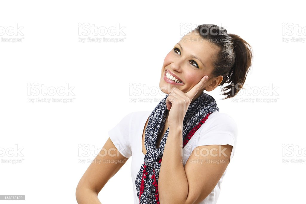 Cute woman thinking royalty-free stock photo