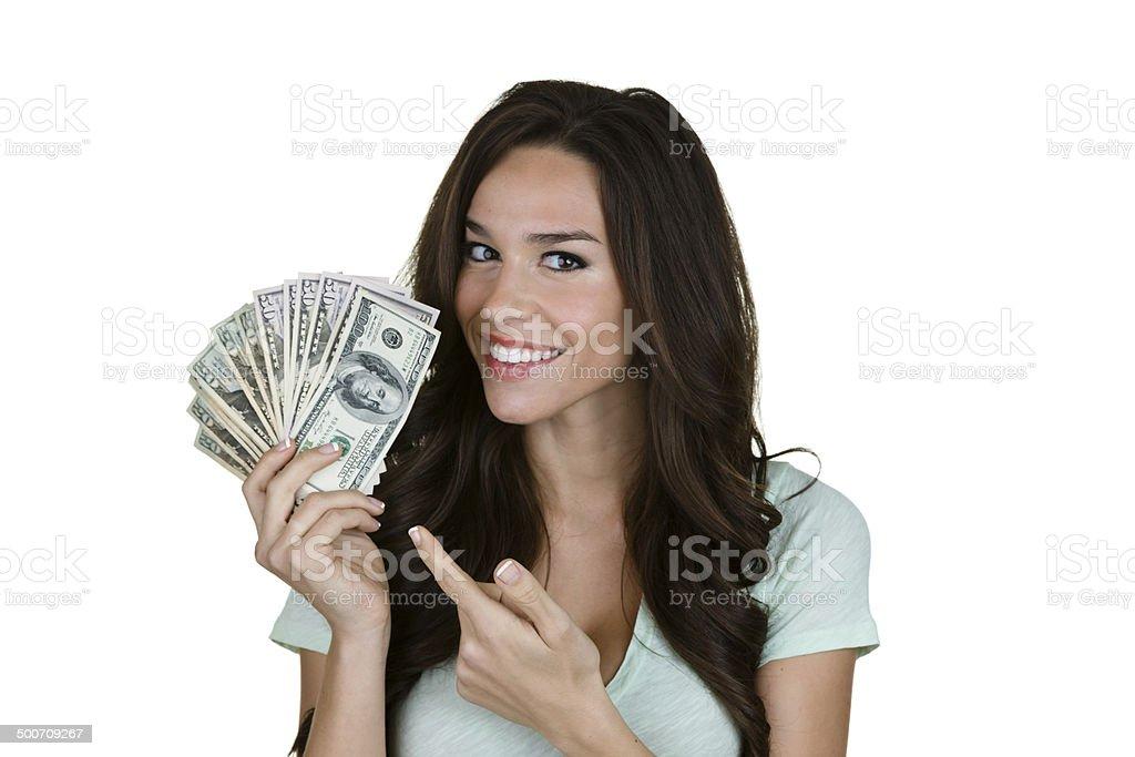 Hübsche Frau mit Geld in der hand. – Foto