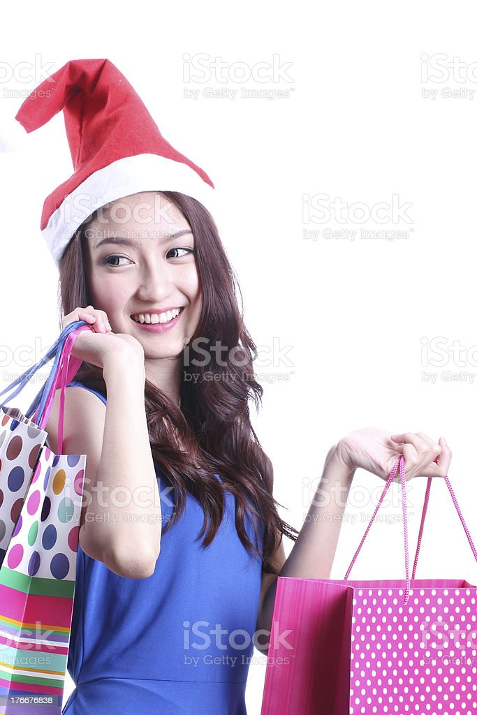 Cute woman with shopping. royalty-free stock photo