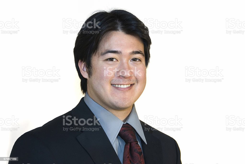 Cute young Asian businessman on white royalty-free stock photo
