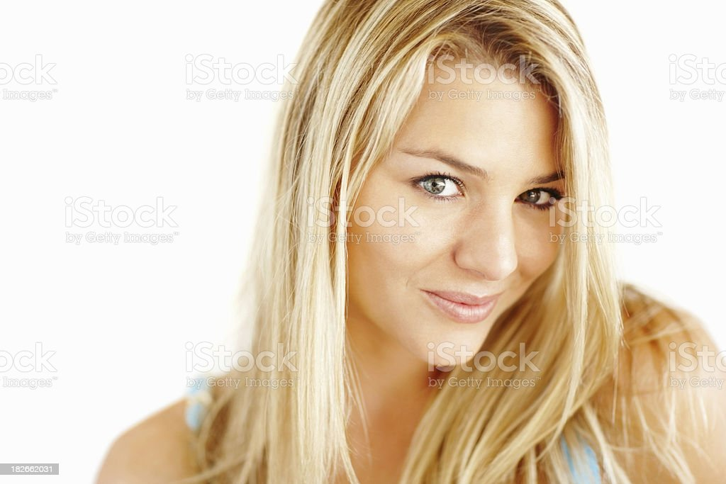 Cute young blond female isolated on white royalty-free stock photo