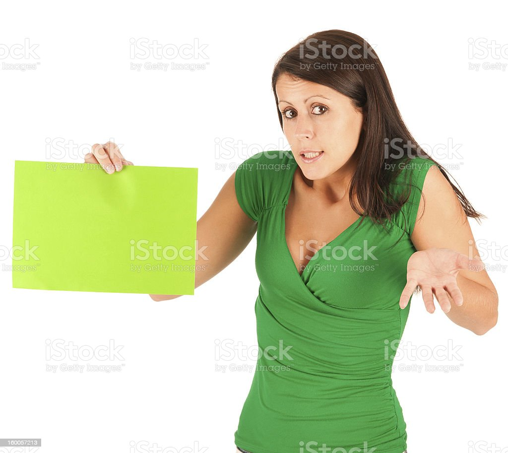 Cute young brunette girl with agreen paper stock photo