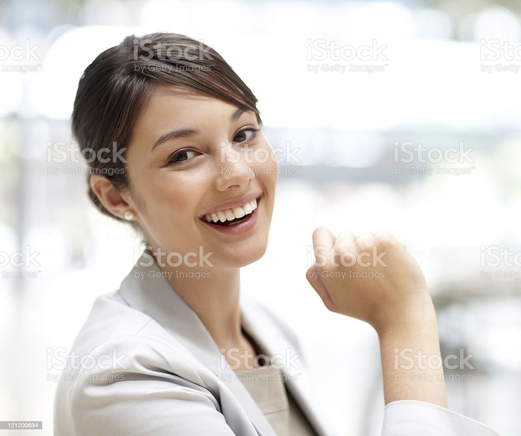 Cute young business woman smiling royalty-free stock photo