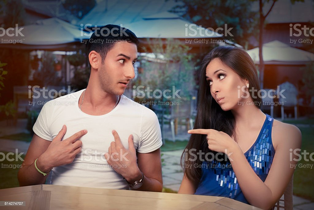Cute Young Couple Arguing stock photo