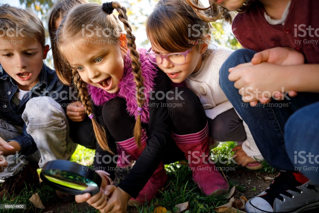 Cute young explorers stock photo