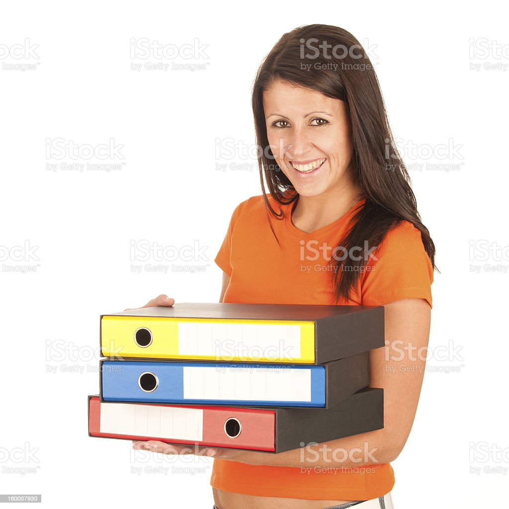 Cute young girl carries file folders royalty-free stock photo