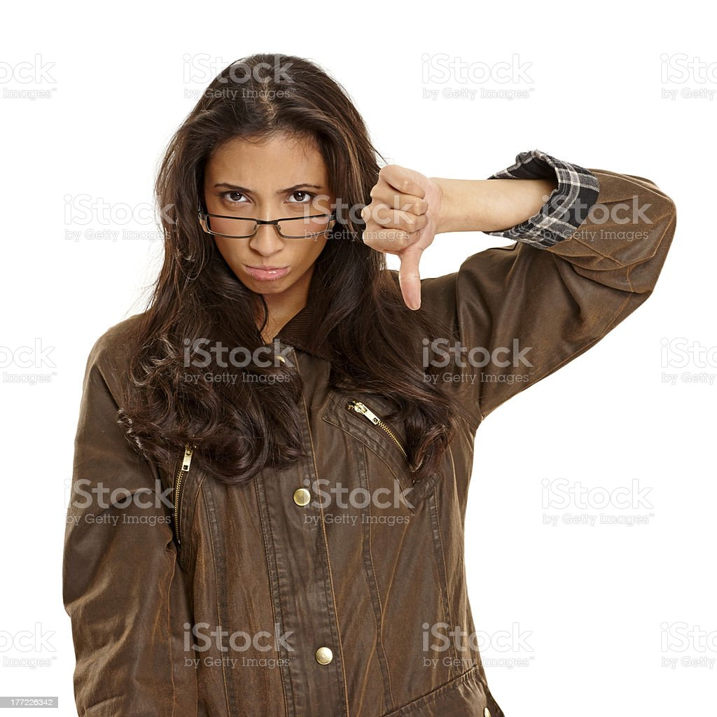 Cute young girl disappointed with you royalty-free stock photo