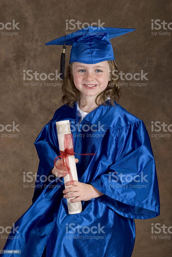 Cute Young Girl Graduation Portrait Diploma Gown Mortarboard ...