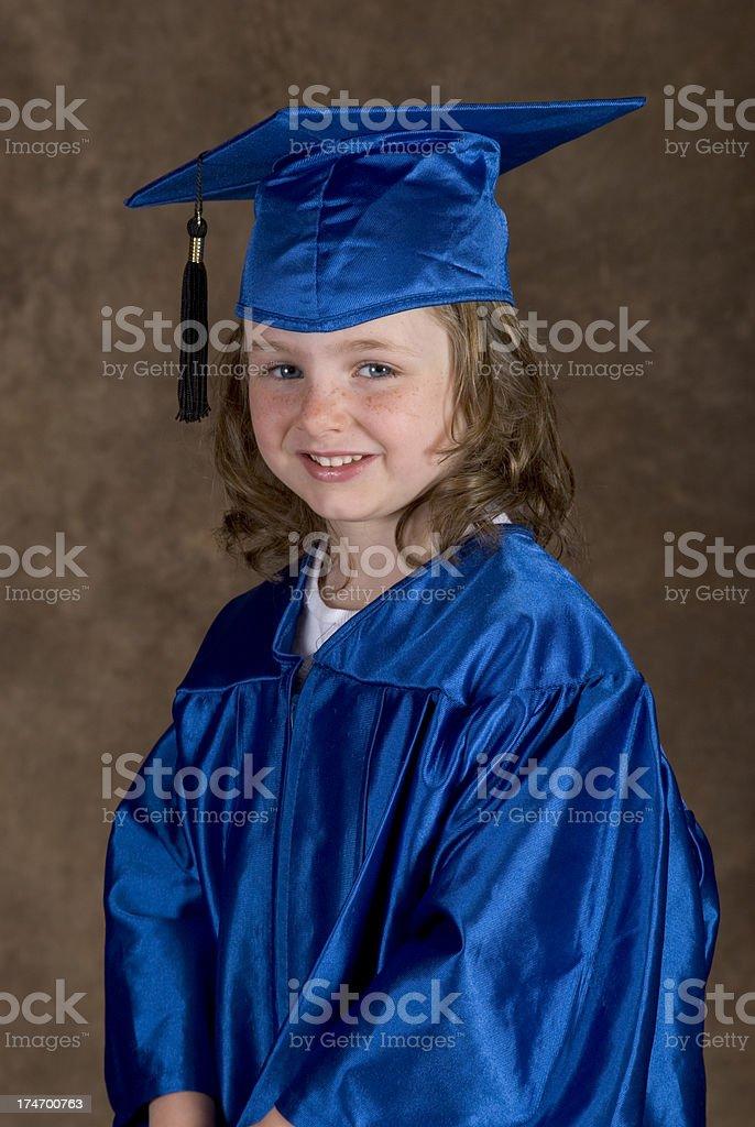 Cute Young Girl In Gown Mortarboard Graduation Portrait Kindergarten ...