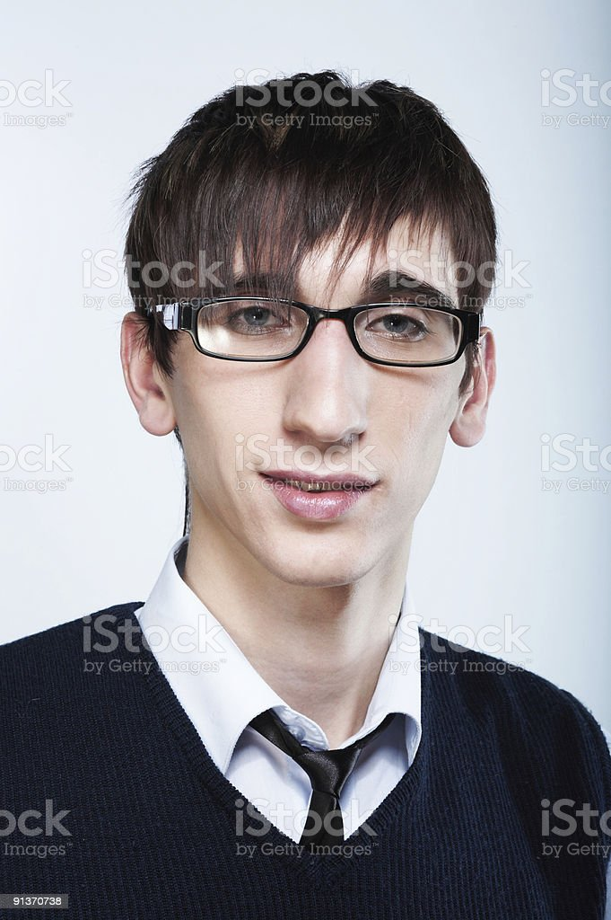 cute young guy with fashion haircut wearing glasses royalty-free stock photo