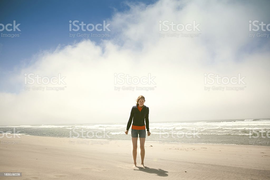 Cute Young Woman at the Beach royalty-free stock photo
