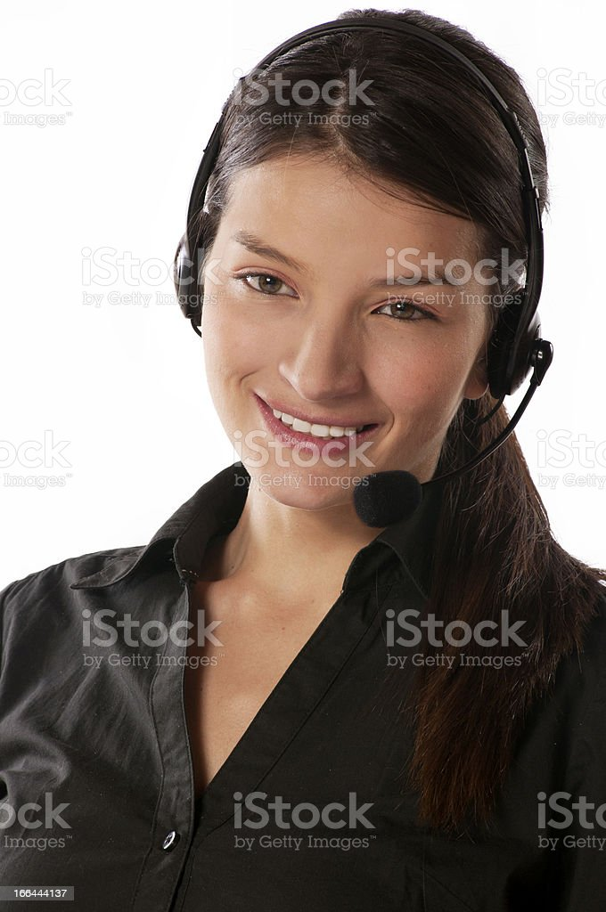 Cute young woman with headphones customer service royalty-free stock photo