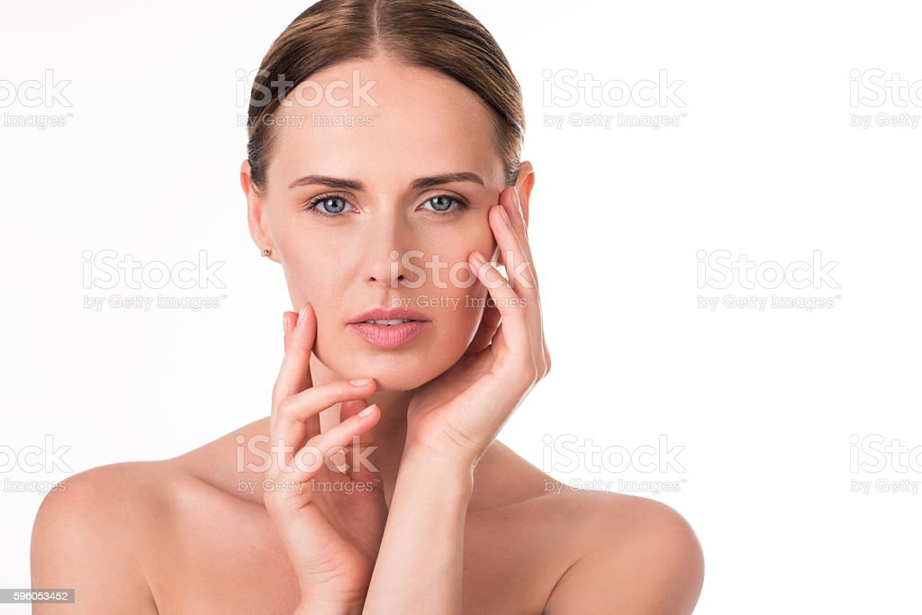 Cute young woman with pure skin royalty-free stock photo