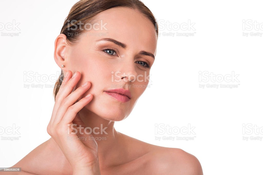 Cute young woman with smooth skin royalty-free stock photo