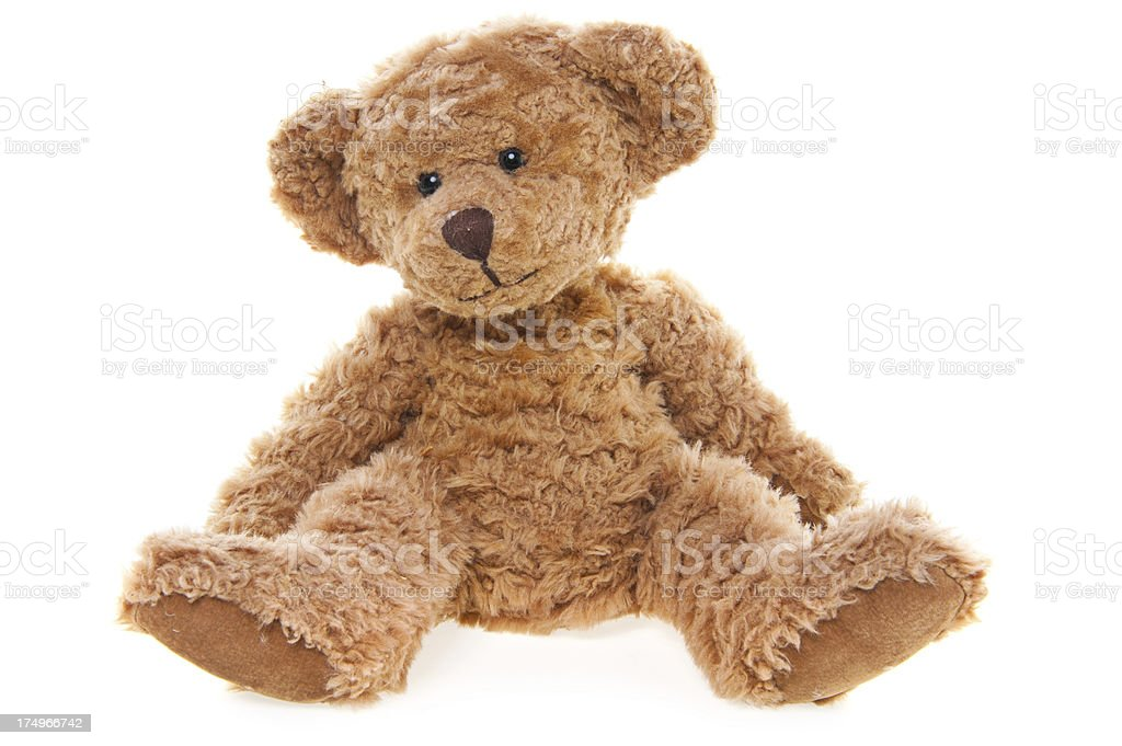 CuteTeddy Bear Sitting, Isolated on White royalty-free stock photo