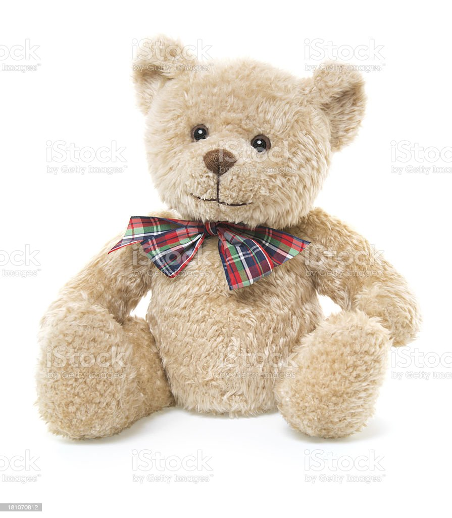CuteTeddy Bear Toy Sitting, Isolated on White stock photo