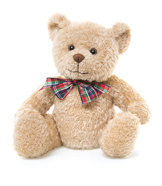 cuteteddy bear toy sitting, isolated on white - teddy bear stock photos and pictures