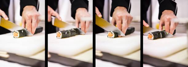 Cuting der sushi-Rolle – Foto