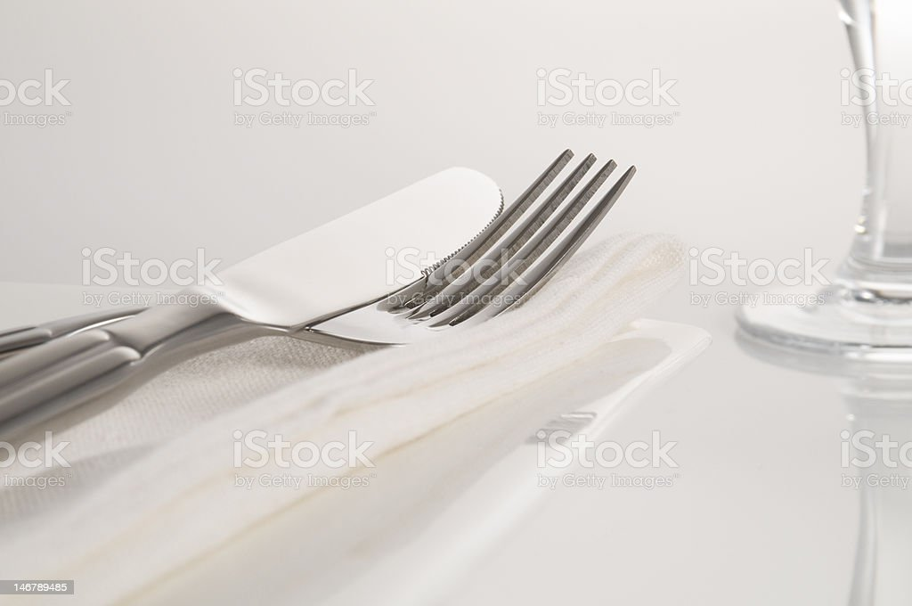 cutlery and wine glass royalty-free stock photo
