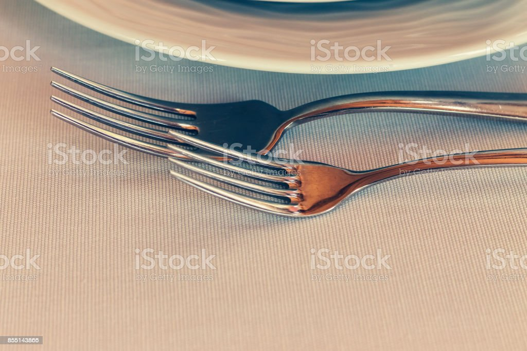 Cutlery in the restaurant. set of cutlery knife, spoon, fork. stock photo