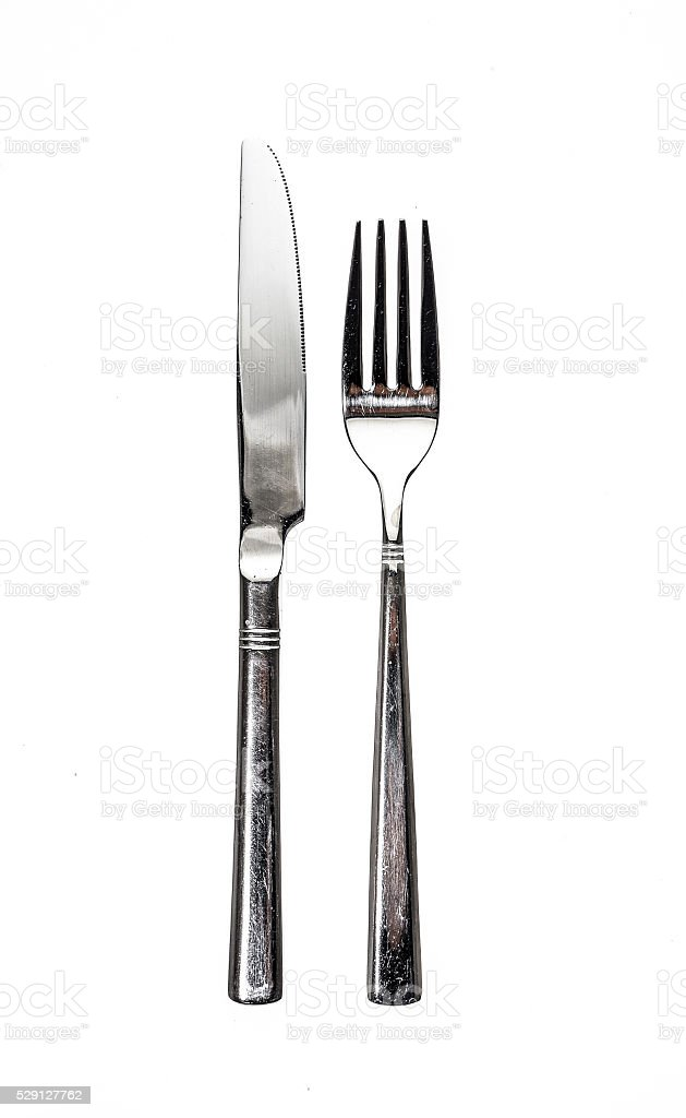 Cutlery metal set with Fork and Knife - kitchen utensils. stock photo