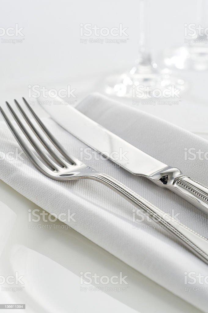 Cutlery on napkin royalty-free stock photo