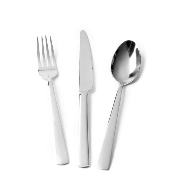 Cutlery on white background stock photo