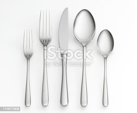 Fork, knife and spoon set on white background with clipping path