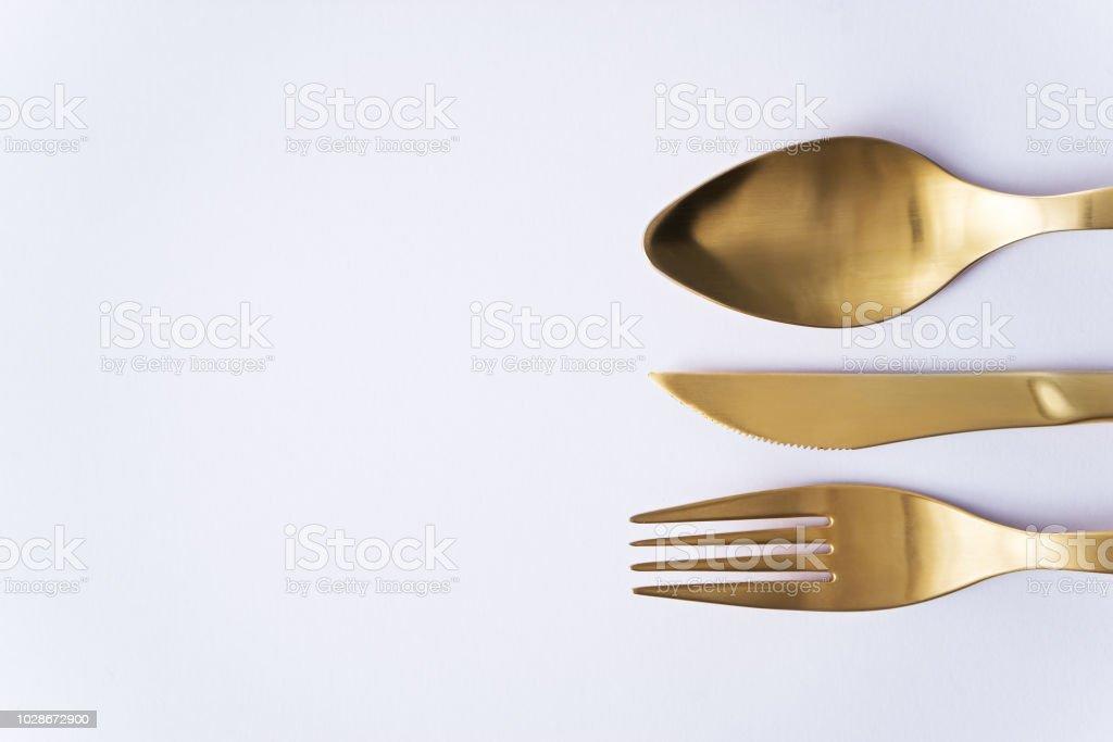 cutlery set of fork, knife and spoon - Zbiór zdjęć royalty-free (Bez ludzi)