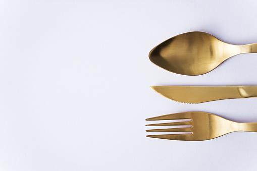 Cutlery Set Of Fork Knife And Spoon - zdjęcia stockowe i więcej obrazów Bez ludzi