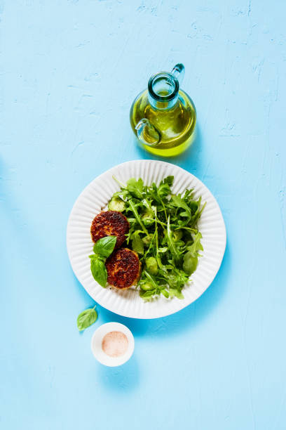 Cutlet and salad stock photo