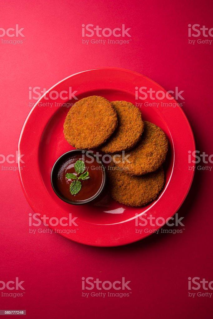 Cutlet Or Fried Potato Or Ragda Patties Aloo Tikki Stock