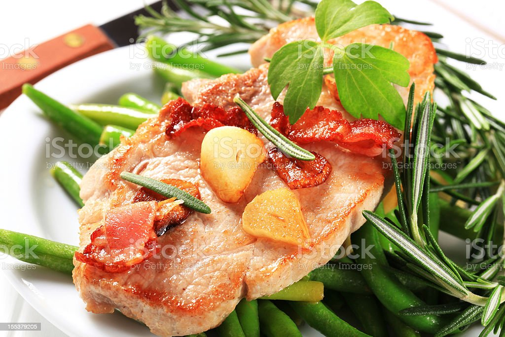 Cutlet with green beans royalty-free stock photo