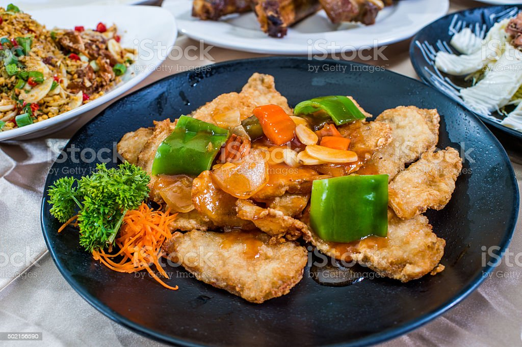 Cutlet with peppers and carrot stock photo