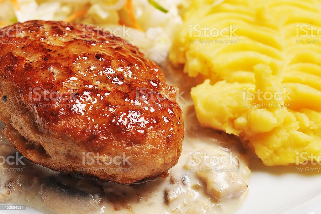 Cutlet  with  potato royalty-free stock photo