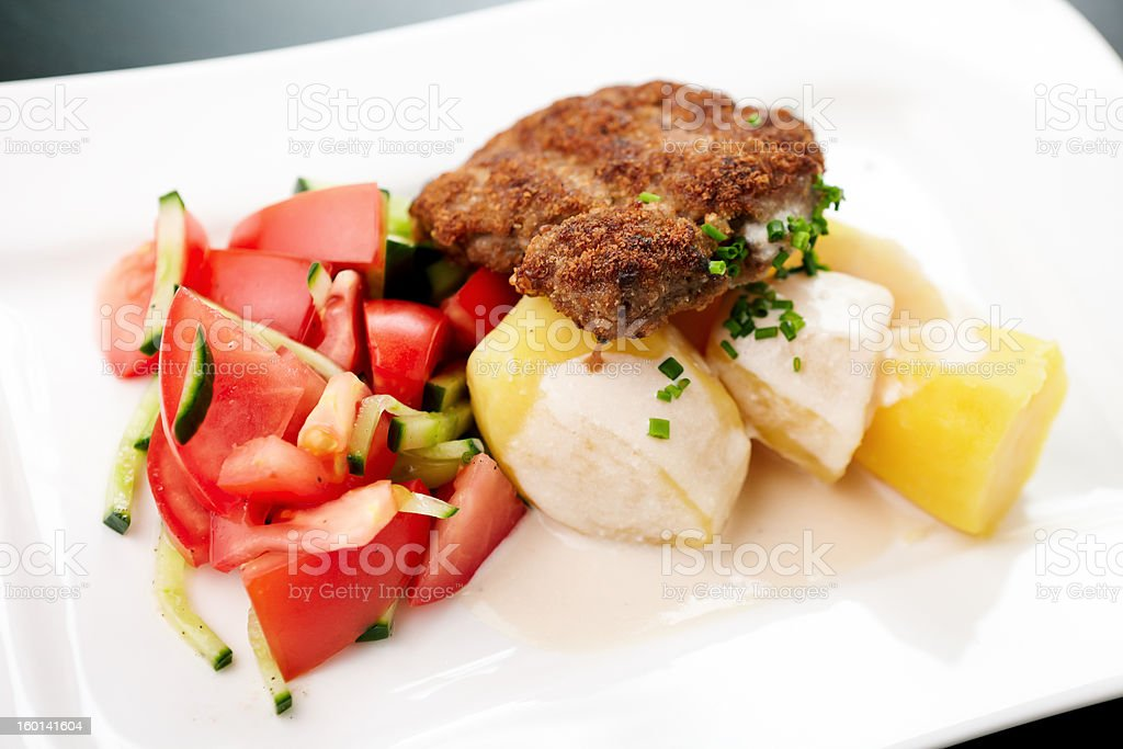 Cutlet with vegetables royalty-free stock photo