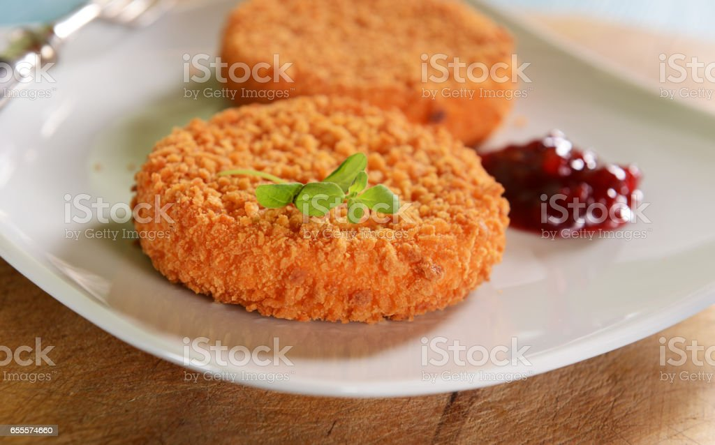 Cutlets stuffed with cheese stock photo